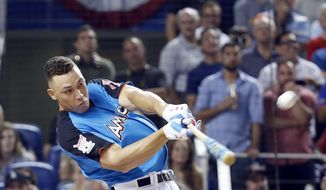 New York Yankees' Aaron Judge competes in the MLB baseball All-Star Home Run Derby, Monday, July 10, 2017, in Miami. (AP Photo/Wilfredo Lee)