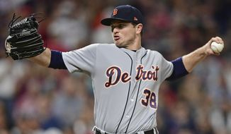 Detroit Tigers relief pitcher Justin Wilson delivers in the eighth inning of a baseball game against the Cleveland Indians, Sunday, July 9, 2017, in Cleveland. The Tigers won 5-3. (AP Photo/David Dermer)