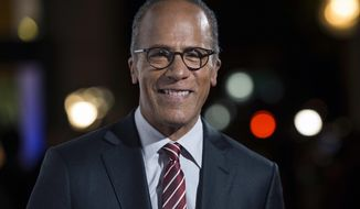 """FILE - In this Oct. 28, 2015 file photo, """"NBC Nightly News"""" anchor Lester Holt arrives at the 9th Annual California Hall of Fame induction ceremonies at the California Museum in Sacramento, Calif. Holt is in a tight battle with ABC's David Muir for viewers and advertising dollars in the dinner hour. (José Luis Villegas/The Sacramento Bee via AP, File)"""
