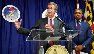 Maryland Attorney General Brian Frosh (left) and District of Columbia Attorney General Karl A. Racine are suing President Trump over violations of the emoluments clause. (Associated Press)