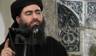 Syrian Observatory for Human Rights officials said Islamic State group leader Abu Bakr al-Baghdadi was killed in counterterrorism operations in Syria. (Associated Press)