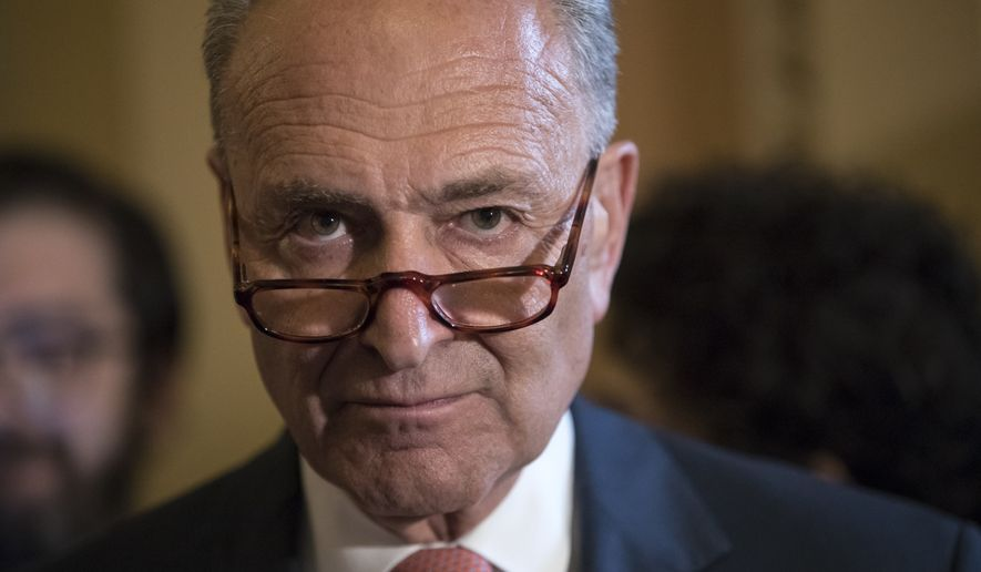 Senate Minority Leader Chuck Schumer of N.Y., criticizes the Republican health care bill during a news conference on Capitol Hill in Washington, Tuesday, July 11, 2017. Senate Majority Leader Mitch McConnell of Ky., said he will unveil their revised health care bill Thursday and begin voting on it next week. (AP Photo/J. Scott Applewhite)
