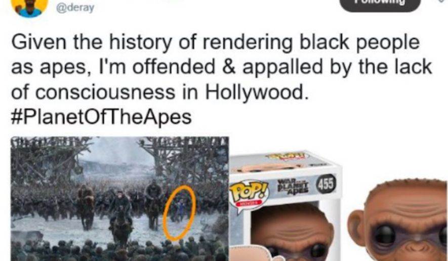 "Black Lives Matter activist DeRay McKesson surmised on July 11, 2017, that ""War for Planet of the Apes"" included coded messages aimed at minorities. (Twitter, DeRay McKesson)"