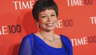 "Senior adviser to President Barack Obama, Valerie Jarrett, attends the TIME 100 Gala celebrating the ""100 Most Influential People in the World"" in New York, April 23, 2013. Publisher Viking said, Tuesday, July 11, 2017, that Jarrett is working on a book, scheduled for 2019, that will combine personal history and civic advice.  (Photo by Evan Agostini/Invision/AP) ** FILE **"