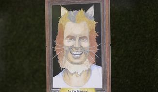 A caricature of Britain's Andy Murray, entitled Andy Purray, is displayed in the window of Pet Pavilion, a grooming salon in the village of Wimbledon within walking distance of the All England Club during the Wimbledon Tennis Championships in London Monday, July 10, 2017. The presentation is one of several dozen on display throughout the village, which created a competition for businesses three years ago. (AP Photo/Tim Ireland)