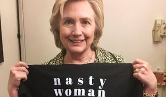 "Hillary Clinton sent out a tweet Tuesday morning encouraging followers to support Planned Parenthood by buying a ""Nasty Woman"" T-shirt from TBS host Samantha Bee. (Twitter/@Hillary Clinton)"