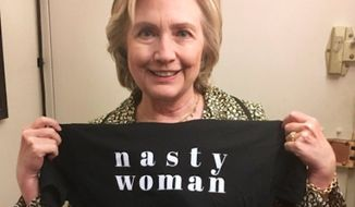"Hillary Clinton, the ""inevitable"" president, encouraged followers to support Planned Parenthood by buying a ""Nasty Woman"" T-shirt from TBS host Samantha Bee. (Twitter/@Hillary Clinton)"