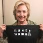 """Hillary Clinton sent out a tweet Tuesday morning encouraging followers to support Planned Parenthood by buying a """"Nasty Woman"""" T-shirt from TBS host Samantha Bee. (Twitter/@Hillary Clinton)"""