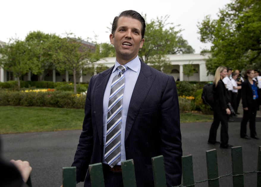 In this April 17, 2017, file photo, Donald Trump Jr., the son of President Donald Trump, speaks to media during the annual White House Easter Egg Roll on the South Lawn of the White House in Washington. (AP Photo/Carolyn Kaster, File)