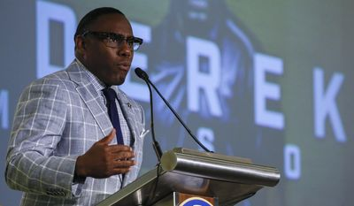 Vanderbilt NCAA college football coach Derek Mason speaks during the Southeastern Conference's annual media gathering, Tuesday, July 11, 2017, in Hoover, Ala. (AP Photo/Butch Dill)