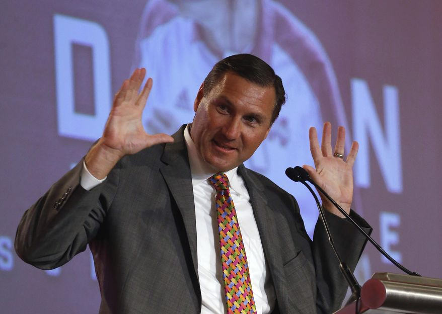 Mississippi State NCAA college football coach Dan Mullen speaks during the Southeastern Conference's annual media gathering, Tuesday, July 11, 2017, in Hoover, Ala. (AP Photo/Butch Dill)