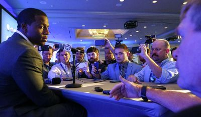 Georgia NCAA college football player Nick Chubb speaks during the Southeastern Conference's annual media gathering, Tuesday, July 11, 2017, in Hoover, Ala. (AP Photo/Butch Dill)