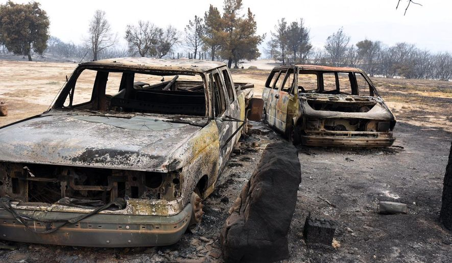 This photo provided by the Santa Barbara County Fire Department shows Rancho Alegre Outdoor School, a camp which suffered extensive damage from the Whittier fire near Santa Barbara, Calif., Monday, July 7, 2017. In Southern California, thousands of people remained out of their homes as a pair of fires raged at different ends of Santa Barbara County. The fires broke out amid a blistering weekend heat wave that toppled temperature records. (Mike Eliason/Santa Barbara County Fire Department via AP)