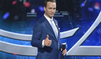 Host Peyton Manning appears on stage at the conclusion of the ESPYS at the Microsoft Theater on Wednesday, July 12, 2017, in Los Angeles. (Photo by Chris Pizzello/Invision/AP)