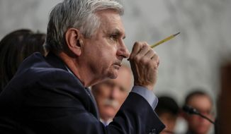 Sen. Jack Reed, D-R.I., questions Attorney General Jeff Sessions testifies before the Senate Select Committee on Intelligence about his role in the firing of FBI Director James Comey and the investigation into contacts between Donald Trump campaign associates and Russia, on Capitol Hill in Washington, Tuesday, June 13, 2017. (AP Photo/J. Scott Applewhite)