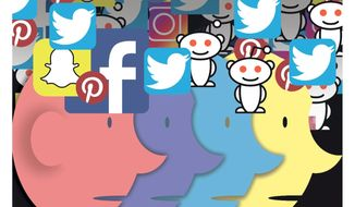 Illustration on young people in the age of social media information by Alexander Hunter/The Washington Times