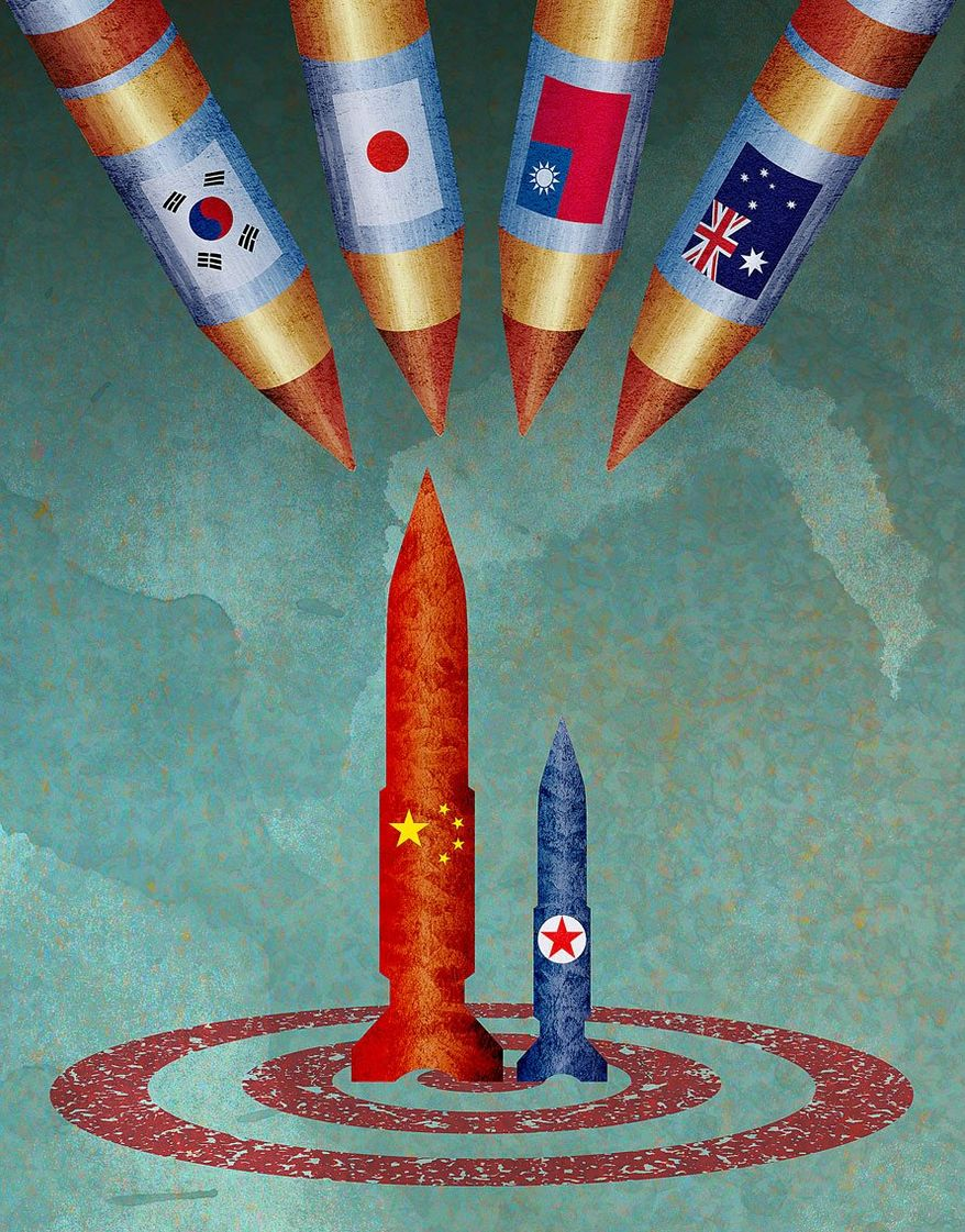 Closer to the Korean Showdown Illustration by Greg Groesch/The Washington Times