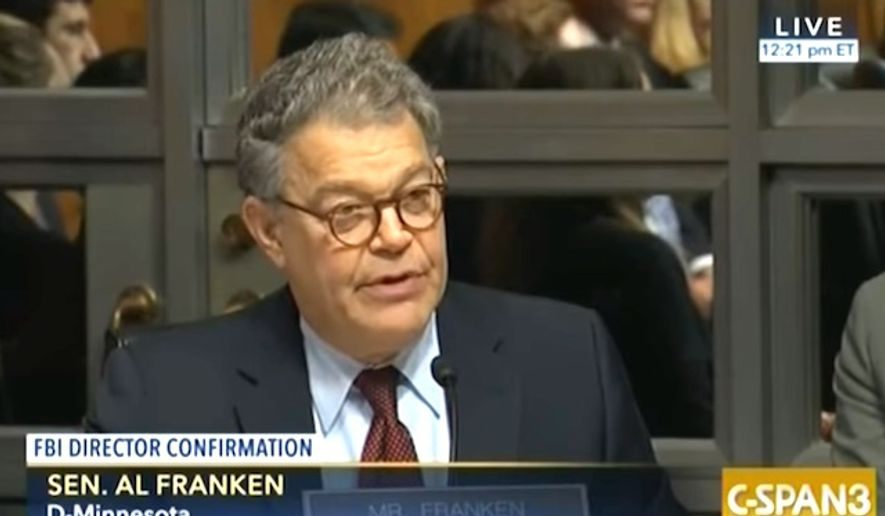 Sen. Al Franken of Minnesota questions Christopher Wray, President Donald Trump's pick to head the FBI, July 12, 2017. (C-SPAN 3 screenshot)