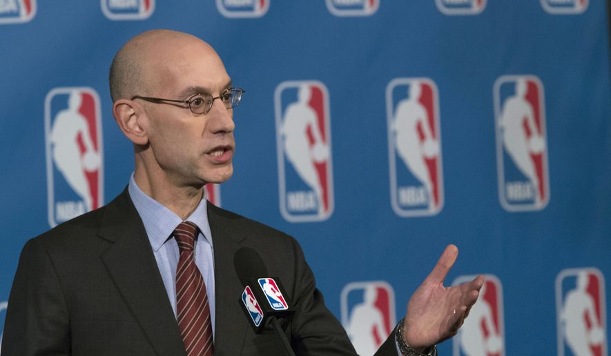 FILE - In this Oct. 21, 2016, file photo, NBA Commissioner Adam Silver speaks to reporters during a news conference, in New York. The NBA is trying to make games go a little more quickly. The league's Board of Governors has unanimously approved some changes that will potentially eliminate four time-outs per game, help speed up the final minutes of games and emphasize a timely resumption of play after halftime. (AP Photo/Mary Altaffer, File)