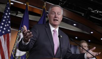 House Freedom Caucus Chairman Rep. Mark Meadows, R-N.C., speaks during a news conference on Capitol Hill in Washington, Wednesday, July 12, 2017. (AP Photo/J. Scott Applewhite) ** FILE **