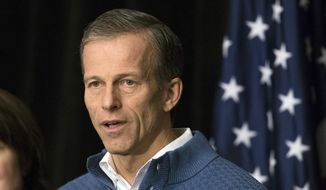 In this Jan. 25, 2017, file photo, U.S. Sen. John Thune, R-S.D., speaks at a news conference at the Republican congressional retreat in Philadelphia. (AP Photo/Matt Rourke, File)
