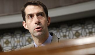 Senate Armed Services Committee member Sen. Tom Cotton, R-Ark. questions Navy Secretary nominee Richard Spencer on Capitol Hill in Washington, Tuesday, July 11, 2017, during Spencer's confirmation hearing before the committee. (AP Photo/Jacquelyn Martin)