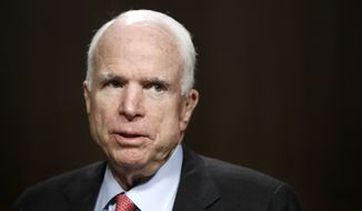 Senate Armed Services Committee Chairman Sen. John McCain, R-Ariz., is seen on Capitol Hill in Washington, Tuesday, July 11, 2017, during the committee's confirmation hearing for Navy Secretary nominee Richard Spencer. (AP Photo/Jacquelyn Martin)