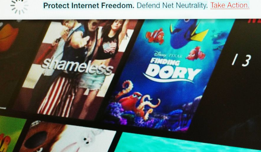 This image shows a banner, top, on the Netflix website defending net neutrality, Wednesday, July 12, 2017. On Wednesday, Netflix joined other tech firms and internet activists in an online show of support for net neutrality, the principle that bars internet service providers from playing favorites with websites and apps. (Netflix via AP)