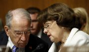 Senate Judiciary Committee Chairman Sen. Chuck Grassley, R-Iowa, talks with the Committee's ranking member Sen. Dianne Feinstein, D-Calif., on Capitol Hill in Washington, Wednesday, July 12, 2017, during the committee's confirmation hearing for FBI Director nominee Christopher Wray.  (AP Photo/Pablo Martinez Monsivais) ** FILE **