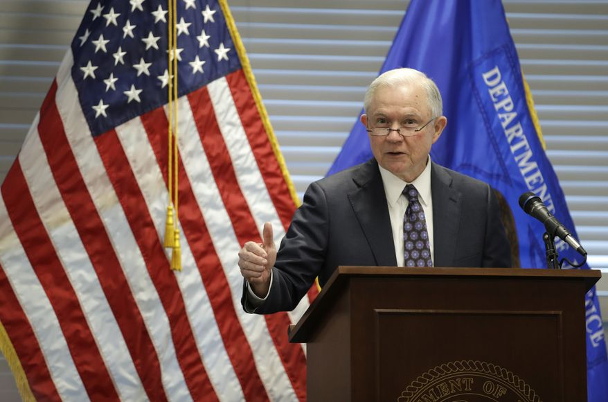 Attorney General Jeff Sessions speaks to federal, state and local law enforcement officials about sanctuary cities and efforts to combat violent crime, Wednesday, July 12, 2017, in Las Vegas. (AP Photo/John Locher)
