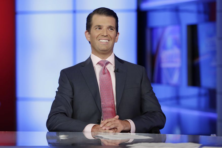Donald Trump Jr. is interviewed by host Sean Hannity on his Fox News Channel television program, in New York Tuesday, July 11, 2017. (AP Photo/Richard Drew)