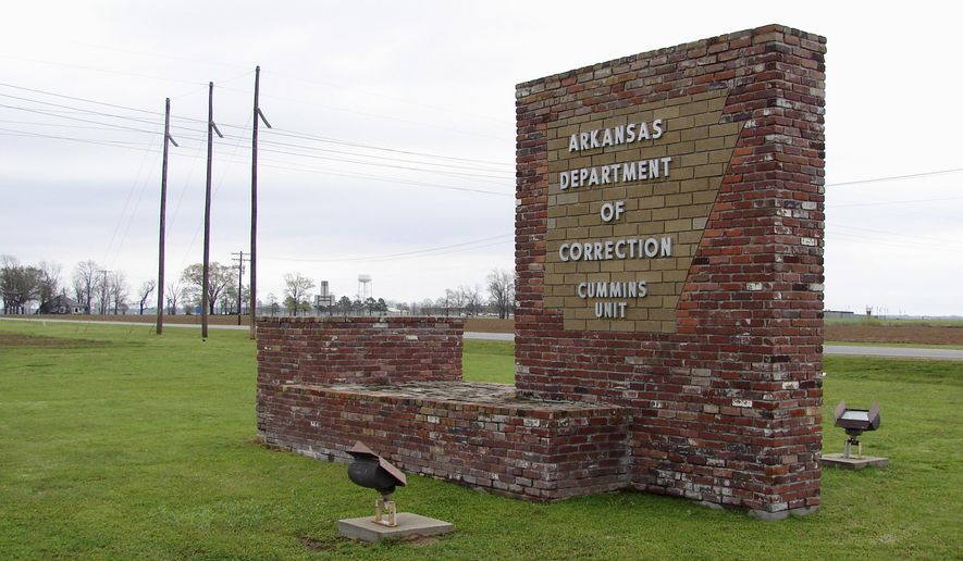 FILE - This March 25, 2017, file photo, shows a sign for the Department of Correction's Cummins Unit prison in Varner, Ark. A judge in Little Rock on Wednesday, July 12, 2017, said that a drug distributor's lawsuit may proceed against the agency. McKesson Medical-Surgical says it doesn't want its products used in Arkansas' death chamber. (AP Photo/Kelly P. Kissel, File)
