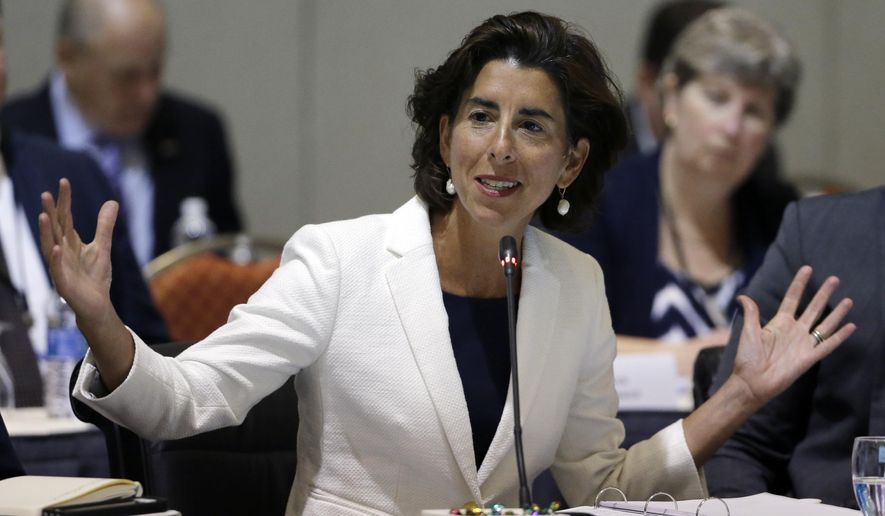 FILE - In this Monday, Aug. 29, 2016, file photo, Rhode Island Gov. Gina Raimondo speaks during a conference of New England's governors and eastern Canada's premiers to discuss closer regional collaboration in Boston. Ahead of the July 2017 governor's meeting, Raimondo, a Democrat, says she wants to see governors collectively say they will commit their states to the standards in the Paris accord and that she thinks they can work directly with world leaders to address the problem. (AP Photo/Elise Amendola, File)