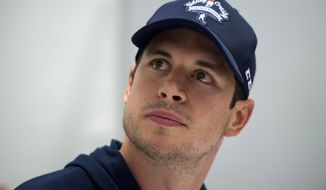 Pittsburgh Penguins NHL hockey player Sidney Crosby speaks to reporters during a press conference in Halifax, Nova Scotia, Wednesday, July 12, 2017. (Darren Calabrese/The Canadian Press via AP)