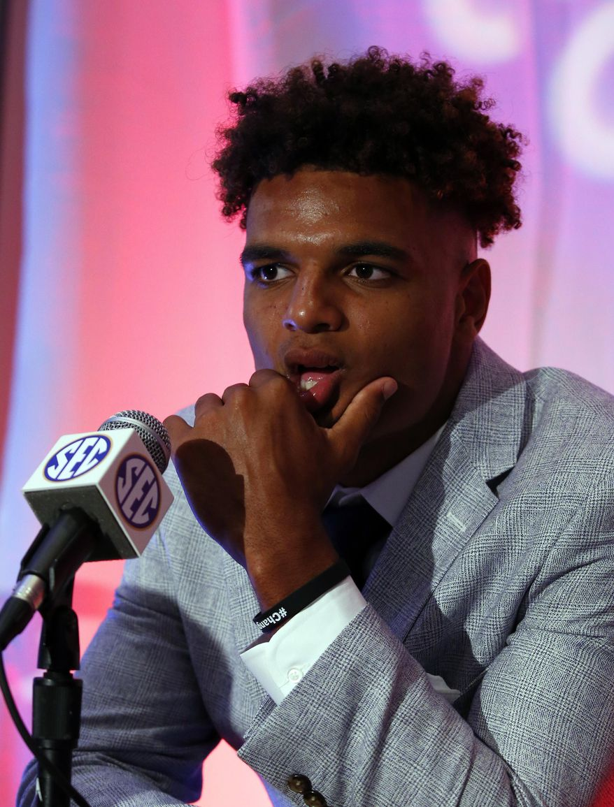 Alabama NCAA college football player Minkah Fitzpatrick speaks during the Southeastern Conference's annual media gathering, Wednesday, July 12, 2017, in Hoover, Ala. (AP Photo/Butch Dill)