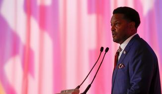 Texas A&M NCAA college football coach Kevin Sumlin speaks during the Southeastern Conference's annual media gathering, Wednesday, July 12, 2017, in Hoover, Ala. (AP Photo/Butch Dill)