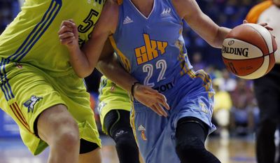 Chicago Sky guard Courtney Vander-Sloot, right, drives against Dallas Wings forward Theresa Plaisance during the first half of a WNBA basketball game Wednesday, July 12, 2017, in Rosemont, Ill. (AP Photo/Nam Y. Huh)
