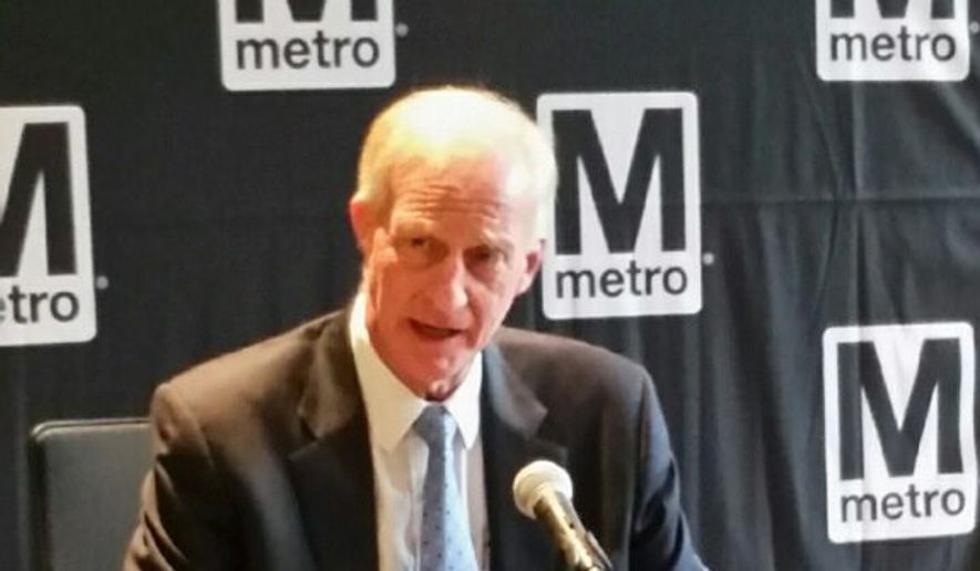 Metro Board Chairman Jack Evans discussed allowing private companies to rename certain subway stations as a revenue-generating policy Thursday during a meeting. (Jason Tidd/The Washington Times).