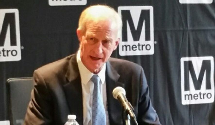 Metro Board Chairman Jack Evans discussed allowing private companies to rename certain subway stations as a revenue-generating policy Thursday during a meeting. (Jason Tidd/The Washington Times). **FILE**