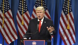 "This Jan. 14, 2017, photo released by NBC shows Alec Baldwin President Elect Donald J. Trump in a sketch on ""Saturday Night Live,"" in New York. Baldwin was nominated for an Emmy Award for outstanding supporting actor in a comedy series on Thursday, July 13, 2017. The Emmy Awards ceremony, airing Sept. 17 on CBS, will be hosted by Stephen Colbert. (Will Heath/NBC via AP)"