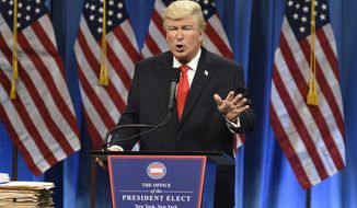 """This Jan. 14, 2017, photo released by NBC shows Alec Baldwin President Elect Donald J. Trump in a sketch on """"Saturday Night Live,"""" in New York. Baldwin was nominated for an Emmy Award for outstanding supporting actor in a comedy series on Thursday, July 13, 2017. The Emmy Awards ceremony, airing Sept. 17 on CBS, will be hosted by Stephen Colbert. (Will Heath/NBC via AP)"""