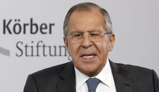 Russian Foreign Minister Sergey Lavrov speaks during an event of the Koerber Foundation in Berlin, Germany, Thursday, July 13, 2017. (AP Photo/Michael Sohn) ** FILE **