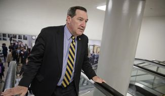 In this April 7, 2017, file photo, U.S. Sen. Joe Donnelly, D-Ind., arrives for the confirmation vote for Supreme Court nominee, Neil Gorsuch, on Capitol Hill in Washington. Donnelly railed against Carrier Corp. for moving manufacturing jobs to Mexico last year, even while he profited from a family business that relies on Mexican labor to produce dye for ink pads, according to records reviewed by The Associated Press. (AP Photo/J. Scott Applewhite, File)