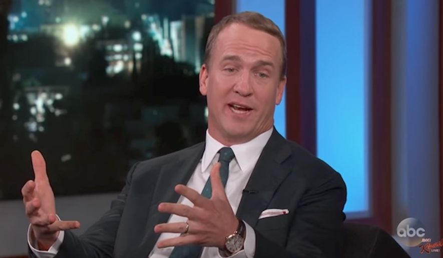 "Peyton Manning said on ""Jimmy Kimmel Live"" July 11, 2017 that it would have been ""un-American"" for him to decline an invitation to play golf with President Trump, as many pressured him to do. (Jimmy Kimmel Live)"