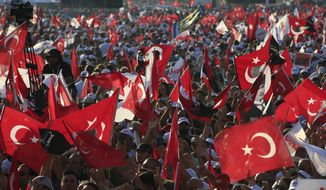 "Supporters of Kemal Kilicdaroglu, the leader of Turkey's main opposition Republican People's Party, rallied after a 265-mile ""March for Justice"" from the capital, Ankara, to Istanbul. A year ago, Turkey was roiled by an attempted coup against President Recep Tayyip Erdogan, followed by a state of emergency, mass arrests and a wide-scale crackdown on civil servants. (Associated Press)"