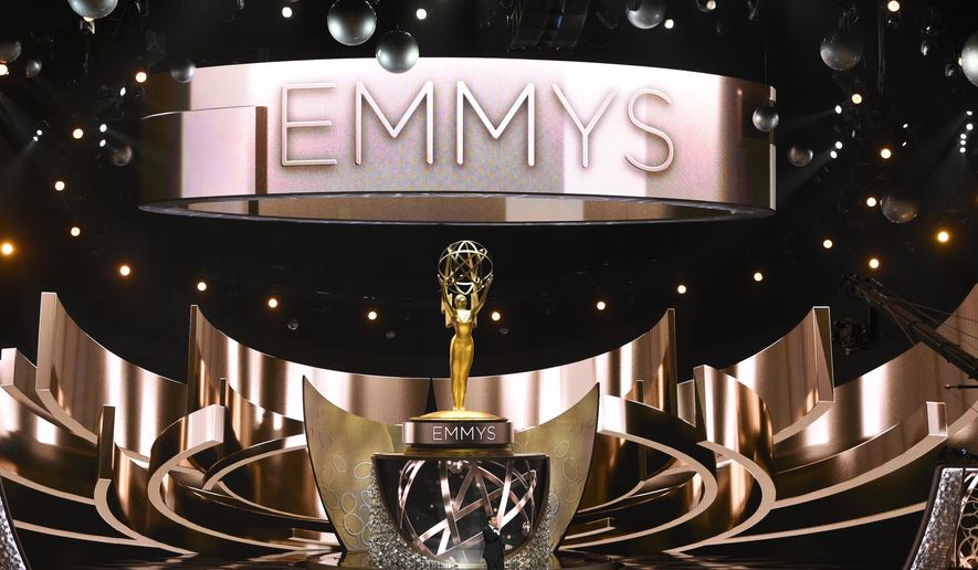This Sept. 18, 2016, file photo shows the main stage during the 68th Primetime Emmy Awards in Los Angeles. This year's Emmy Awards will air Sept. 17 on CBS with host Stephen Colbert. (Photo by Chris Pizzello/Invision/AP, File)