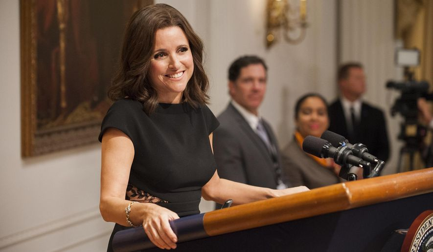 "This image released by HBO shows Julia Louis-Dreyfus in ""Veep."" Louis-Dreyfus was nominated for an Emmy Award for outstanding lead actress in a comedy series on Thursday, July 13, 2017. The Emmy Awards ceremony, airing Sept. 17 on CBS, will be hosted by Stephen Colbert. (Colleen Hayes/HBO via AP)"