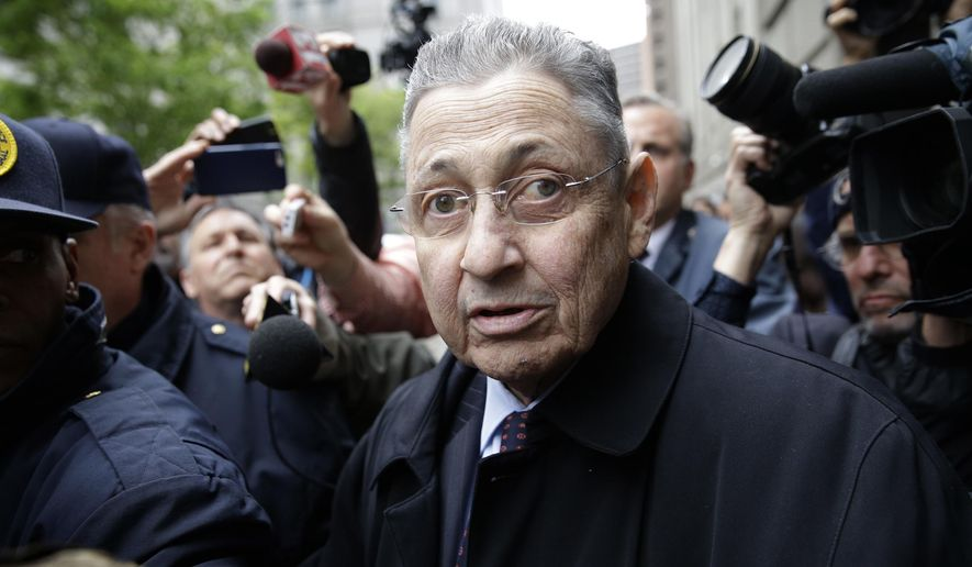 In this May 3, 2016, file photo, former New York Assembly Speaker Sheldon Silver is surrounded by media as he leaves the court in New York where he was sentenced to 12 years in prison on corruption charges. On Thursday, July 13, 2017, a federal appeals court overturned Silver's corruption conviction, saying the judge's instructions on law weren't consistent with a recent Supreme Court ruling. (AP Photo/Seth Wenig, File)