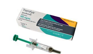 This photo provided by Janssen Biotech, Inc. shows the drug Tremfya. On Thursday, July 13, 2017, the Food and Drug Administration approved the new drug Tremfya, from Johnson & Johnson, for people with moderate to severe plaque psoriasis. (Janssen Biotech, Inc. via AP)