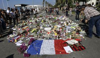 Flowers were placed on the Promenade des Anglais last year at the scene of the truck attack in Nice that killed 86 people celebrating France's Bastille Day. The massacre was a kind of watershed moment that was followed by a macabre wave of similar low-tech terrorist strikes in several Western European nations. (Associated Press/File)